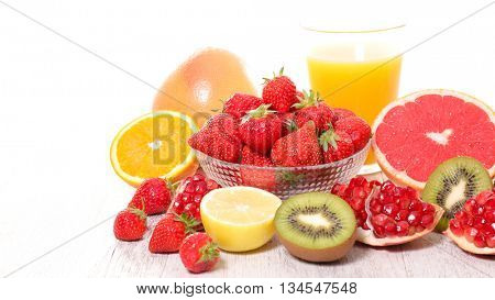 assorted fruit and juice