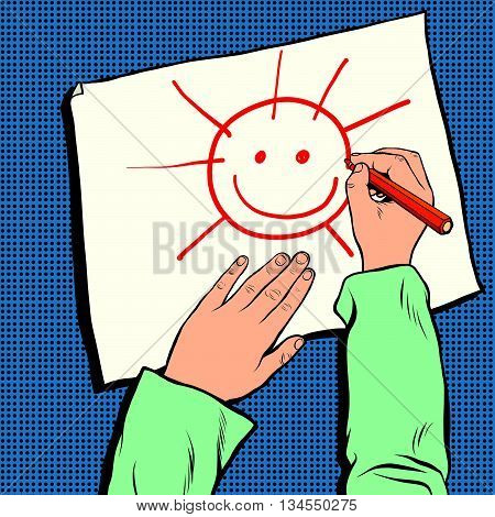 mock up top view of workplace designer pop art retro vector. A child draws the sun