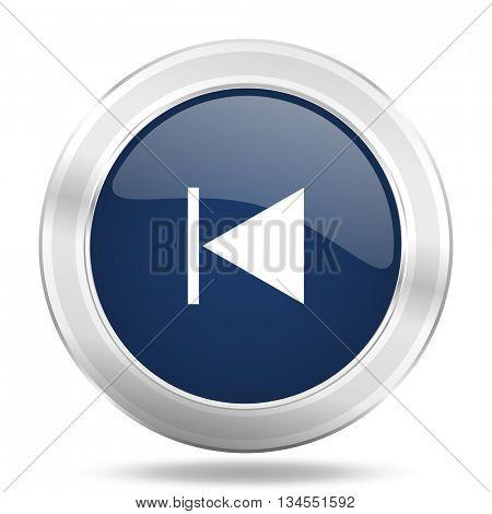 prev icon, dark blue round metallic internet button, web and mobile app illustration