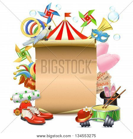 Vector Circus Concept with Poster isolated on white background