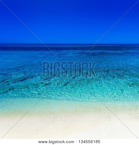Beautiful Sunny Beach Coastline with Panorama Tranquility Bay. Tropical Paradise Beach Seascape Travel vacation background poster