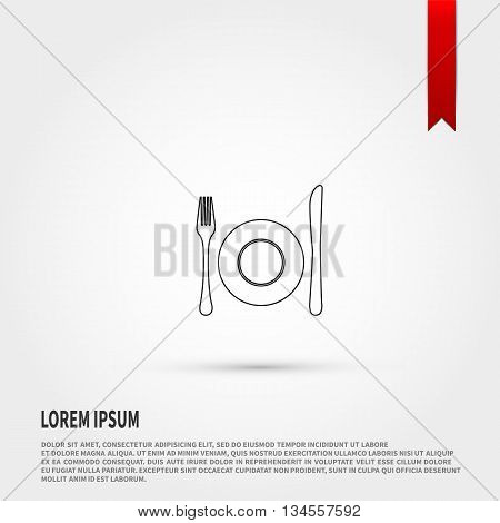Kitchen icon of dish fork and knife vector. Vector illustration.