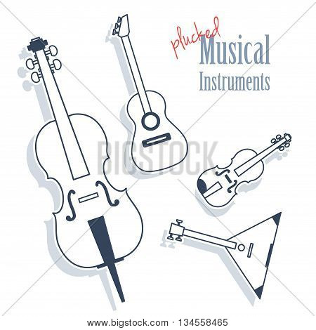 A set of plucked instruments. Musical Instruments in monochrome style isolated on white background. Cello guitar violin balalaika