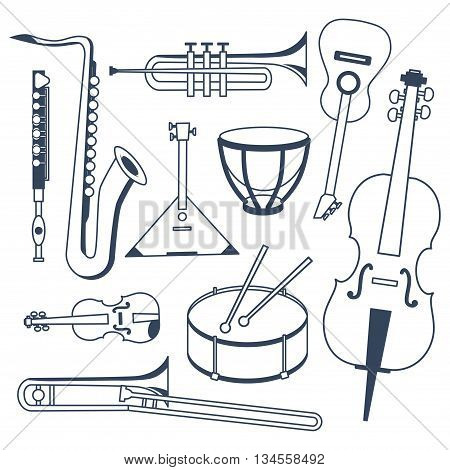 Set of different musical instruments. Musical Instruments in flat monochrome style isolated on white background. Sax trumpet flute trombone drums kettle-drum cello guitar violin and balalaika.