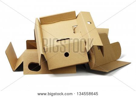 Pile of Package Cardboard For Recycling on White Background