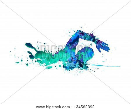 Swimming man. Vector watercolor blue splash paint