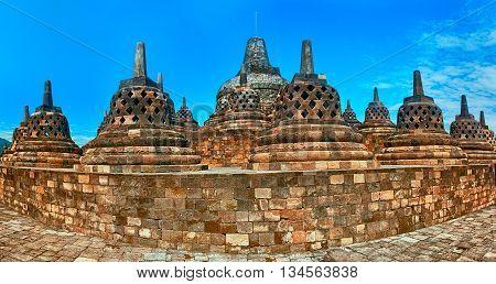 Buddist temple Borobudur in Yogyakarta. Java Indonesia