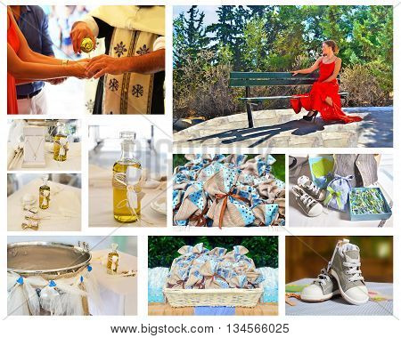 Orthodox christening collage - candles and favors - baptism oil and clothes - godmother
