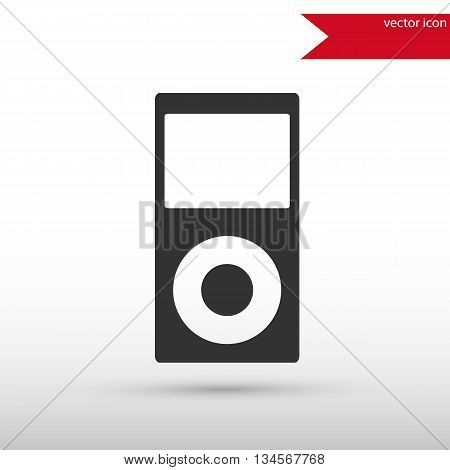 Portable media player icon. Portable media player symbol. Flat design style. Template for design.