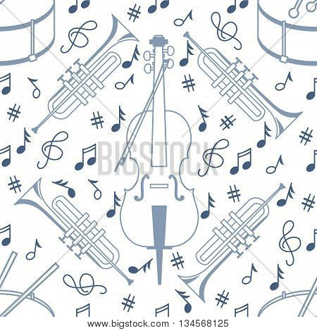 Seamless pattern with drum tube and cello in a line style on a white background. Music vector background in light tones.