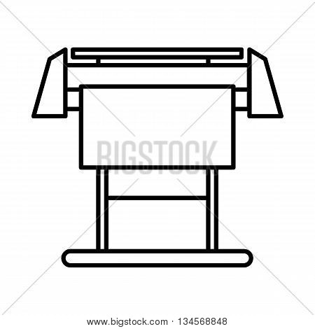 Large format inkjet printer icon in outline style isolated on white background