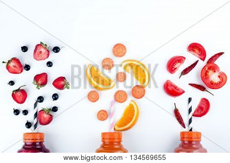 Assortment Of Fruit And Vegetables Smoothies