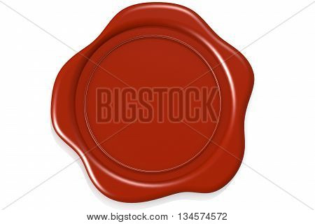 Wax seal isolated on white background image, 3D rendering