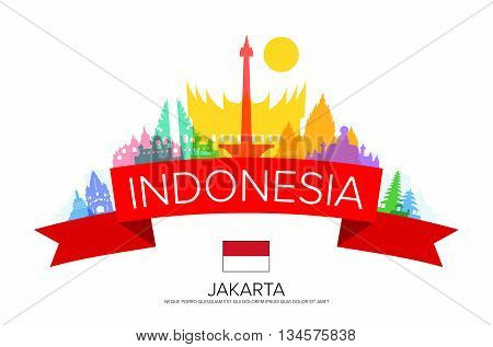 Indonesia Travel jakarta Travel Landmarks. Vector and Illustration
