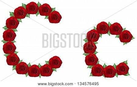 Alphabet  Made From Red Roses And Green Leaves