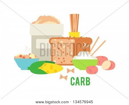 Carbs food vector illustration.