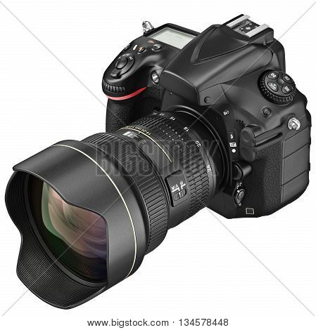 Digital DSLR camera with professional optics zoom lens. 3D graphic