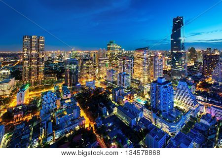 Bangkok cityscape in Thailand. Bangkok night view in business district Thailand. Bangkok skyscaper. Bangkok is capital city of Thailand