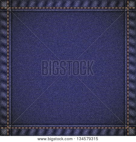 Realistic jeans texture in deep blue colors with frame from seams and thread stitches. Denim pattern background. Vector illustration