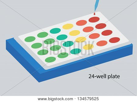 Science lab Vectorwell plate on white background.