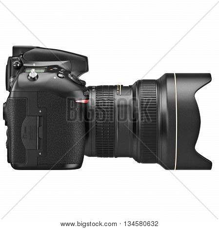 DSLR photo camera, lens zoom, side view. 3D graphic