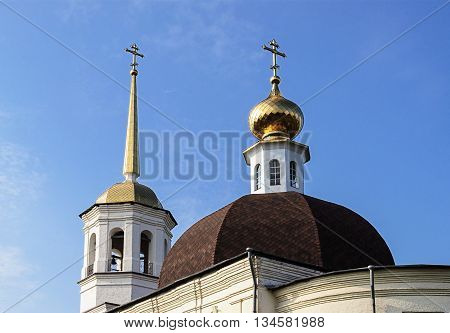 Cupola of Trinity Cathedral in Onega Arkhangelsk region Russia