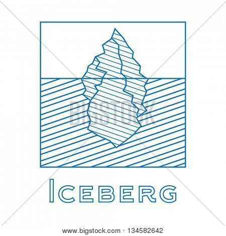 Iceberg in linear style. Outline iceberg isolated on white background. Icon with iceberg. Iceberg for logotype.