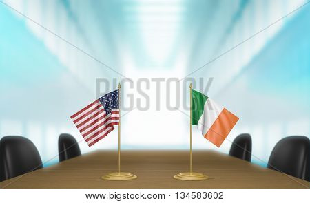 United States and Ireland relations and trade deal talks, 3D rendering