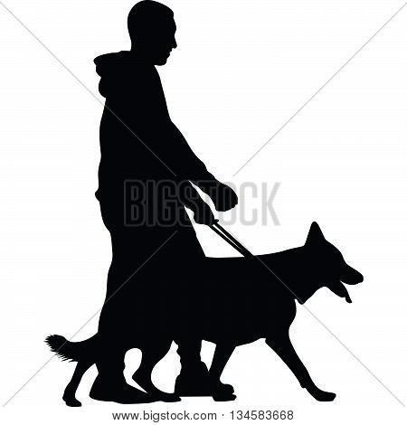 man and dog are walking silhouette vector