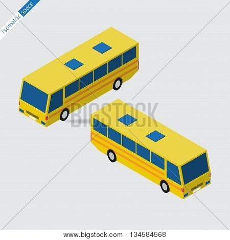 isometric space - yellow bus with blue windows side views