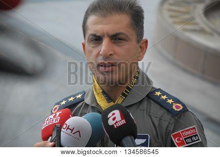 KONYA/TURKEY-JUNE 7, 2016: Ops. Commander Col. Mustafa Erturk at the TURAF 3rd Main Jet Base during the Anatolian Eagle Exercise 2016. June 7, 2016-Konya/Turkey