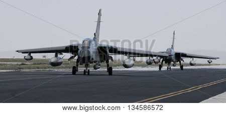 KONYA/TURKEY-JUNE 7, 2016: Saudi Arabian Air Force's Tornados at the TURAF 3rd Main Jet Base during the Anatolian Eagle Exercise 2016. June 7, 2016-Konya/Turkey