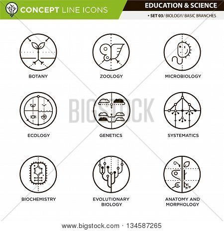Brances of biology line icons in white isolated background used for school and university education and document decoration, create by vector