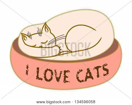 White cat sleeping alone on his place. I love cats text. T-shirt design. Vector illustration. Child book picture. Applique clothes cat design