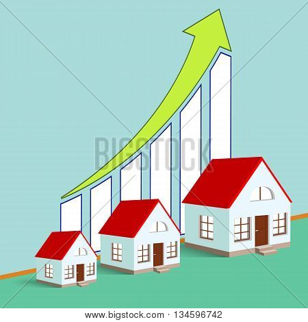 Construction of real estate. Growth chart. Stock vector illustration.