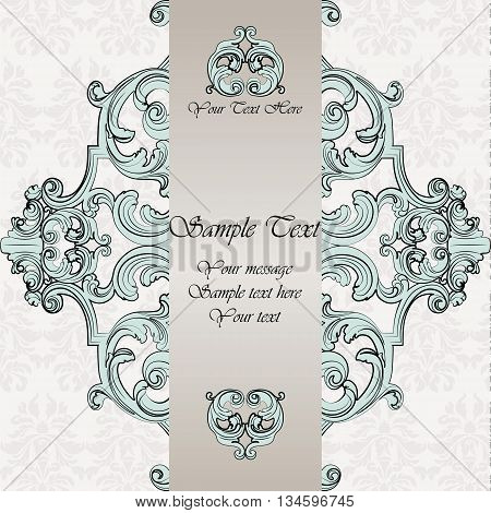 Vintage Classic Invitation card with damask luxury ornament. Vector