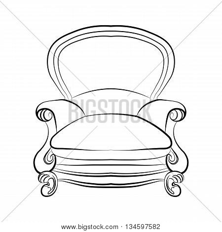Imperial royal armchair with luxurious rococo ornaments. Vector sketch