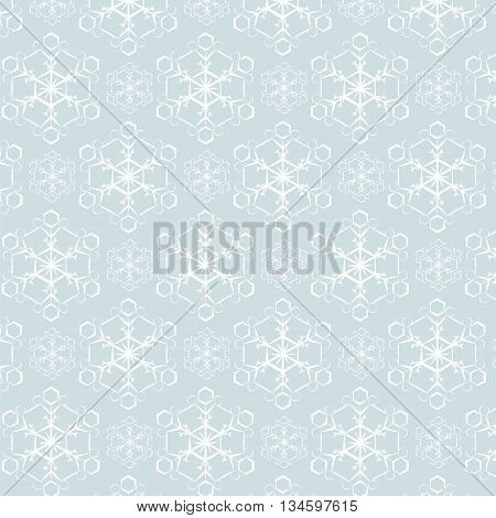 Snowflake pattern on pale blue background. Vector
