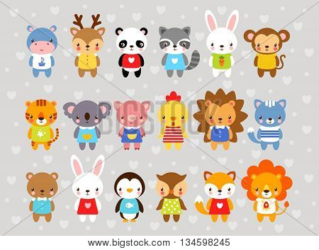 Set of vector animals in cartoon style. Cute animals on a gray background. A collection of small animals in the children's style. Africa tropics antarctica farm forest.