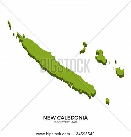 Isometric map of New Caledonia detailed vector illustration. Isolated 3D isometric country concept for infographic
