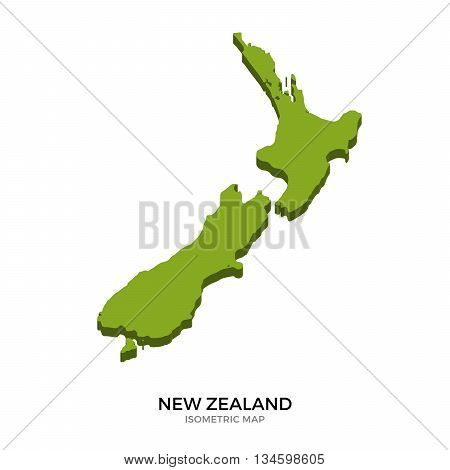 Isometric map of New Zealand detailed vector illustration. Isolated 3D isometric country concept for infographic