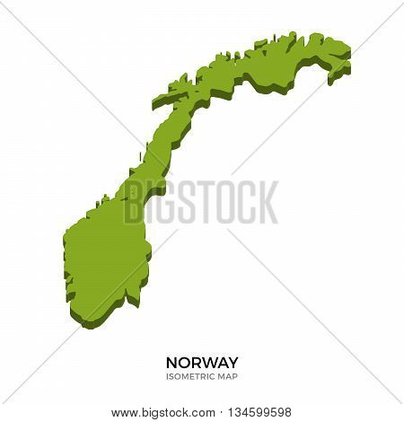 Isometric map of Norway detailed vector illustration. Isolated 3D isometric country concept for infographic