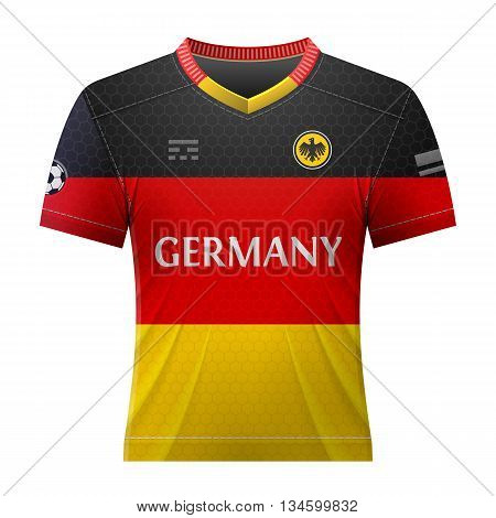 Soccer shirt in german colors. National jersey for football team of Germany. Qualitative vector illustration about soccer, sport game, football, championship, national team, gameplay, etc