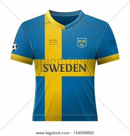 Soccer shirt in colors of swedish flag. National jersey for football team of Sweden. Qualitative vector illustration about soccer, sport game, football, championship, national team, gameplay, etc