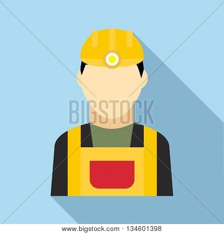 Coal miner icon in flat style on a light blue background