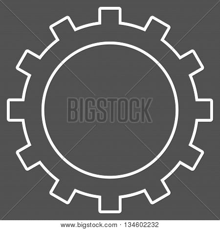 Gear vector icon. Style is stroke flat icon symbol, white color, gray background.
