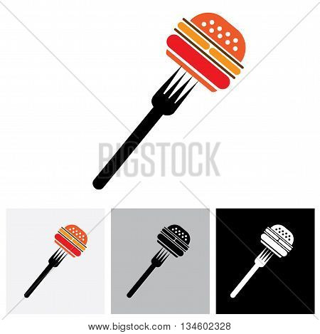 Fast Food Burger & Fork Icon For Cafes, Hotels - Vector Graphic