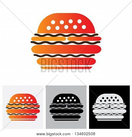 Fast Food Burger Vector Icon For Cafes, Restaurants And Hotels