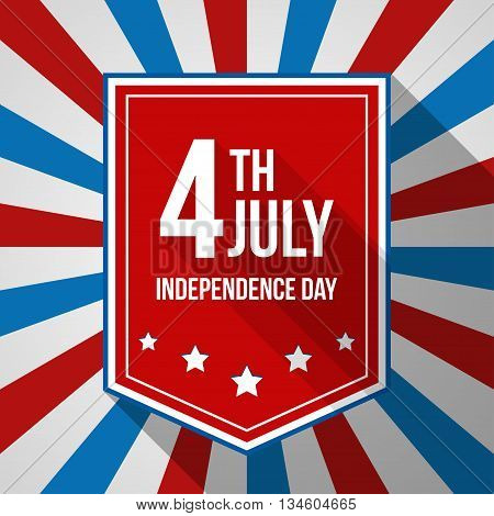 USA Independence Day background. Vector illustration with text stripes and stars for posters flyers decoration in colors of american flag. 4July national celebration.