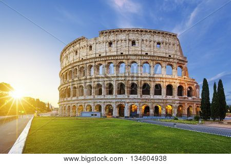 View of Colosseum in Rome at sunrise Italy Europe.
